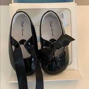 Ralph Lerann black patent leather baby shoes